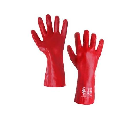 Povrstvené rukavice SELA červené, veľ. 10