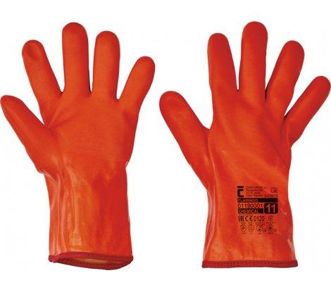 FLAMINGO rukavice PVC - dlhé oranž.